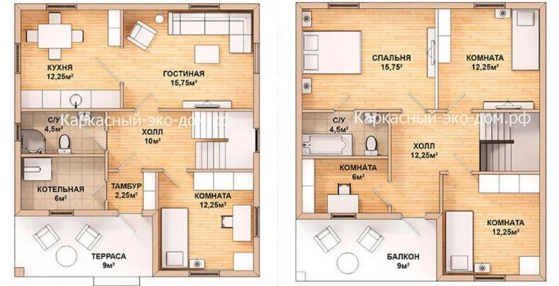 План отапливаемого дома