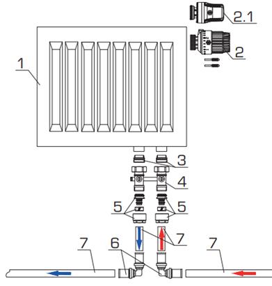Схема обвязки радиатора для однотрубной системы