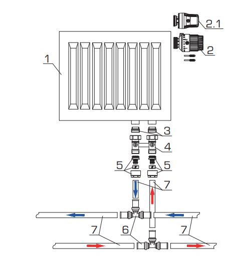 Схема обвязки радиатора для двухтрубной системы